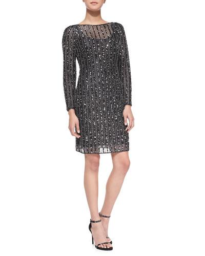 Long-Sleeve Beaded Overlay Cocktail Dress