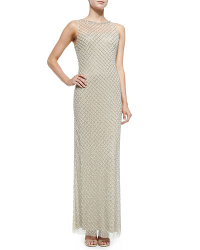 Beaded Diamond-Pattern Column Gown