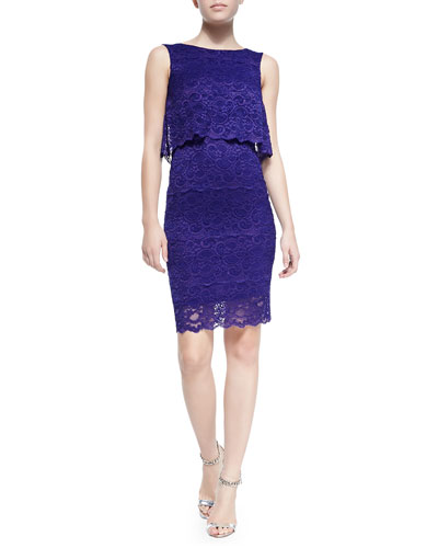 Sleeveless Stretch Lace Cocktail Dress