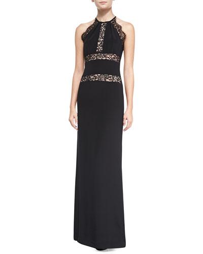 Halter Gown Lace-Trim Gown