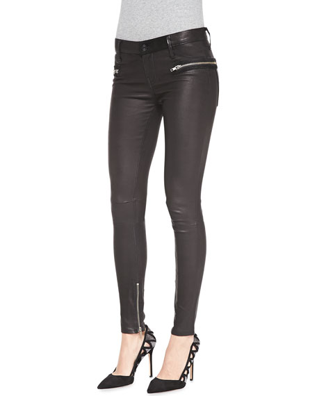 clients first most reliable harmonious colors Zip-Pocket Skinny Leather Pants