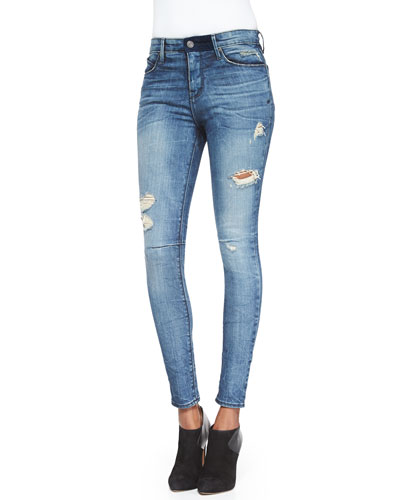 High-Waist Distressed Denim Jeans, Light Used