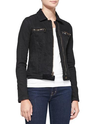 Cropped Denim Jacket with Zips