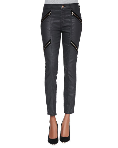 Coated Double-Zip Moto Jeans, Black