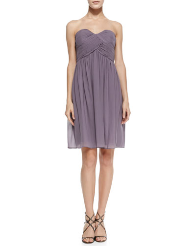 Morgan Strapless Ruched-Bodice Cocktail Dress