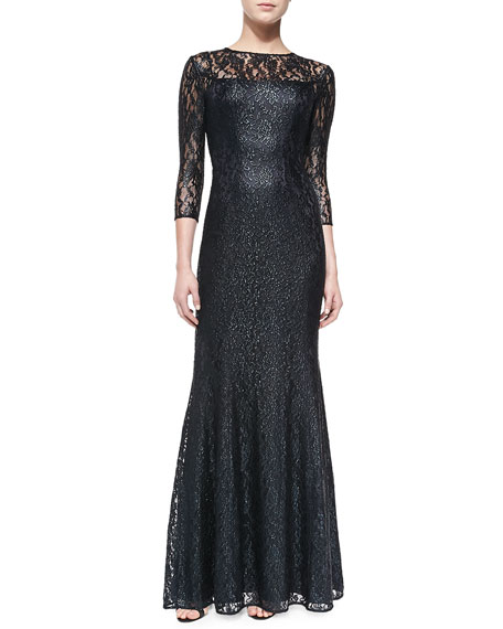 4151202ef7d Kay Unger New York 3 4-Sleeve Lace-Overlay Gown. 3 4-Sleeve Lace-Overlay  Gown