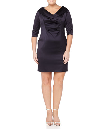 3/4-Sleeve V-Neck Cocktail Dress, Women's