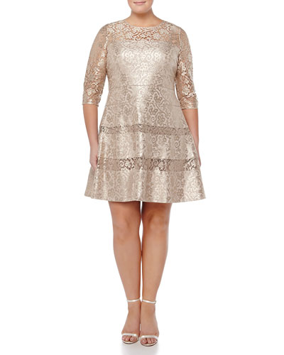 Tiered Lace Fit & Flare Cocktail Dress, Gold, Women's