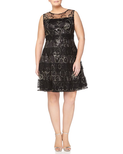 Sleeveless Lace Overlay Cocktail Dress