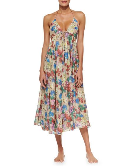 bace2f26e56d Zimmermann Haze Floral-Print Tie-Front Maxi Dress