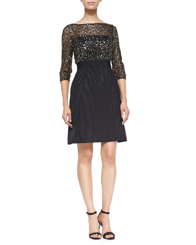 3/4-Sleeve Sequined Top Cocktail Dress