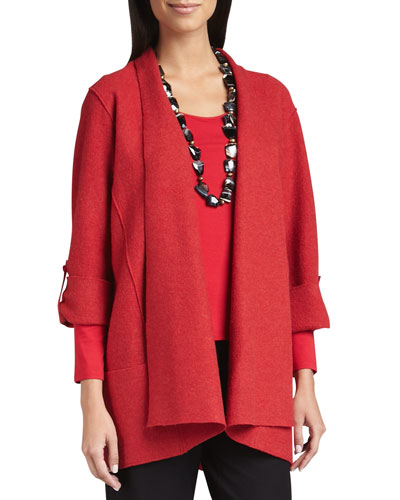 Lightweight Boiled Wool Coat, Garnet
