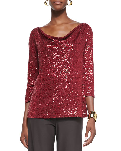 Stretch Sequined Top, Petite