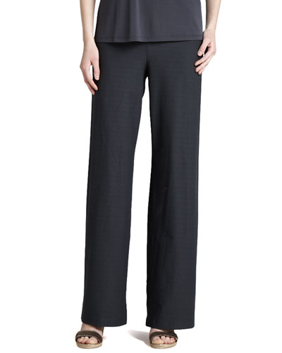Wide-Leg Stretch Crepe Pants, Graphite, Petite