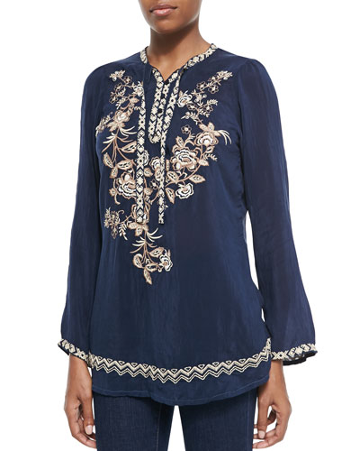 Porcelain Embroidered Georgette Blouse, Women's
