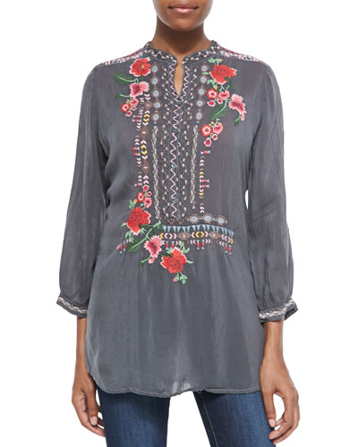 Selina Embroidered Georgette Blouse, Women's