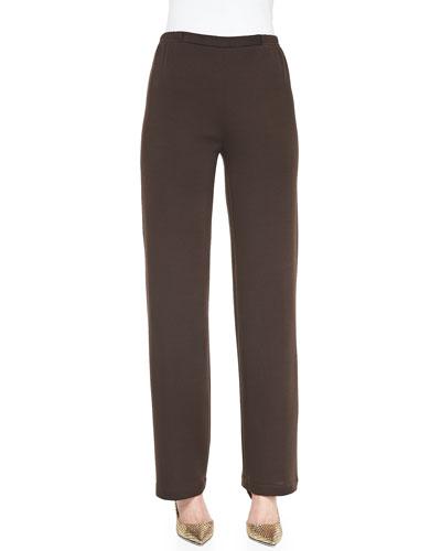 Flat Knit Wool Pants, Chocolate, Women's
