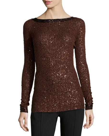 best service e4e41 e1466 Cashmere-Silk Sequined Sweater Henna