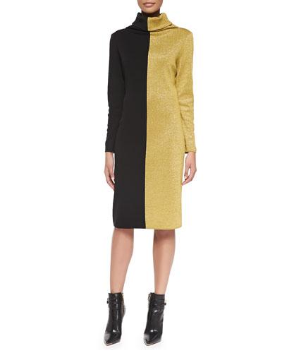 Colorblocked Long-Sleeve Turtleneck Dress, Women's