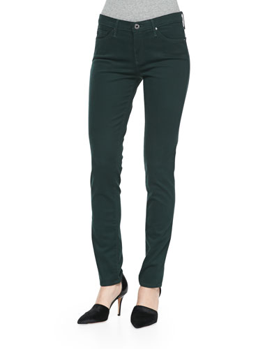Prima Sateen Mid-Rise Jeans, Rainforest Green