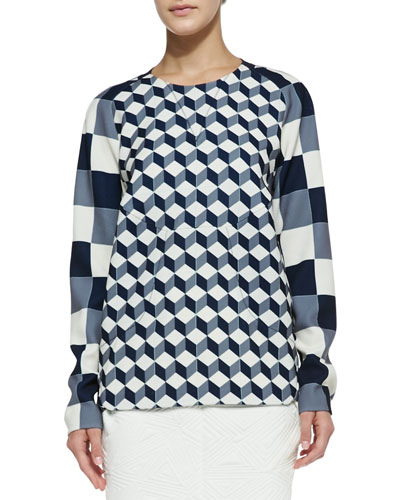 Long-Sleeve Geometric-Print Blouse