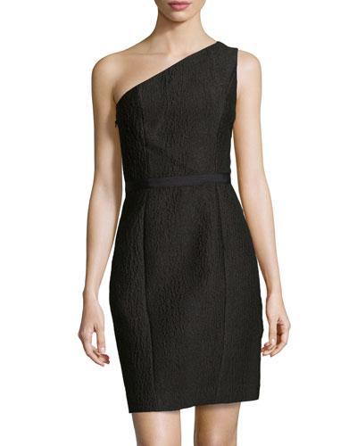 One-Shoulder Jacquard Dress, Black