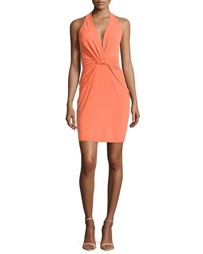 Twisted Jersey Halter Dress, Tangerine
