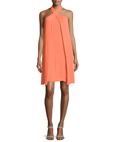 Crossover Slit-Draped Halter Dress, Daffodil