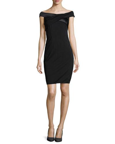 Off-The-Shoulder Satin-Trimmed Ponte Dress, Black