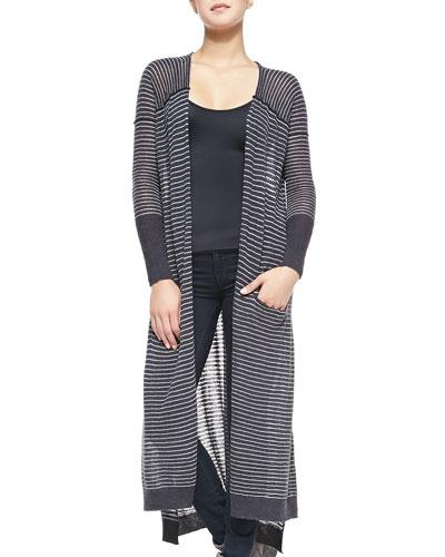 Merci Striped Open-Front Long Cardigan, Light Gray/Deep Gray