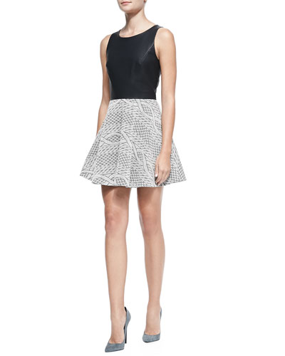 Auro Faux-Leather Rope-Print Combo Dress, Black