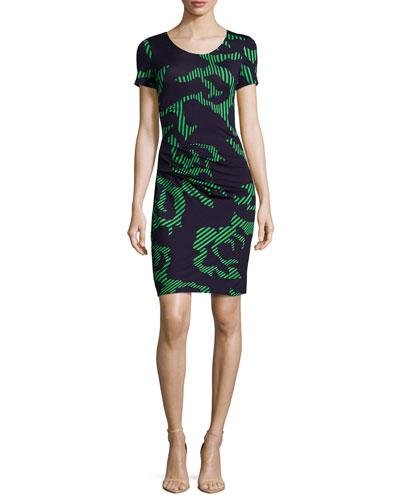 Short-Sleeve Printed Dress, Navy/Grass