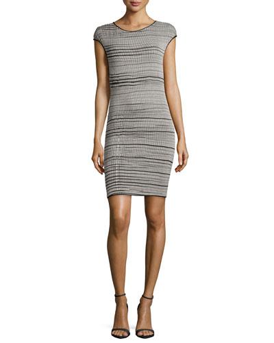 Mixed-Stripe Jersey Dress, Black/Shell