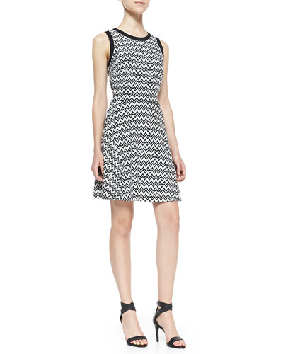Sheila Zigzag Ponte Fit-And-Flare Dress, Black/White