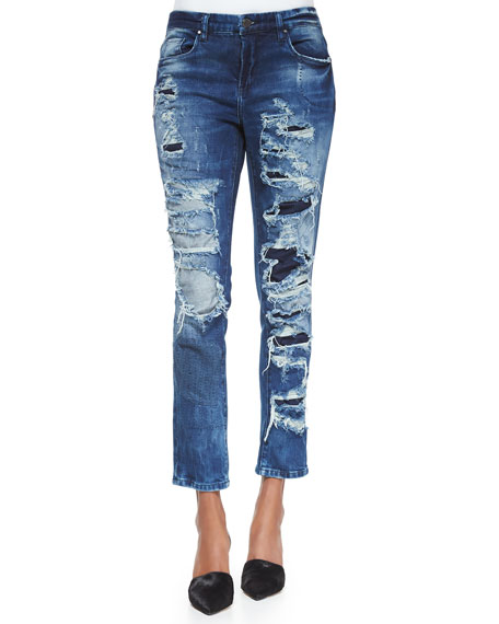 blank distressed stitched skinny jeans blue