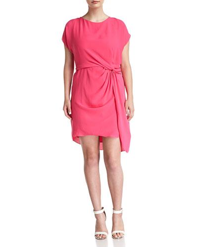 Side-Twist Draped Dress, Hot Pink