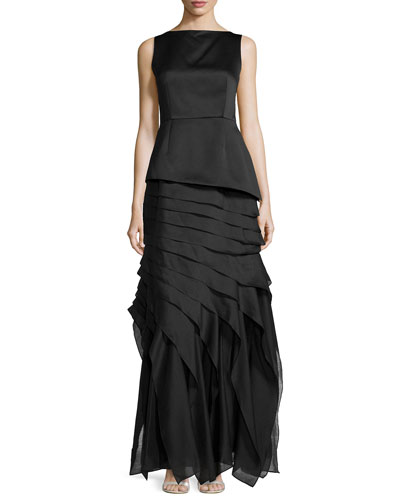 Ruffled Tiered Satin Gown, Black