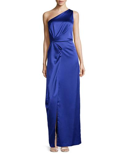 One-Shoulder Fold-Detailed Satin Gown, Dark Wisteria