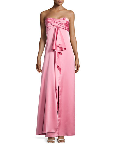 Pleated Strapless Satin Gown, Rose