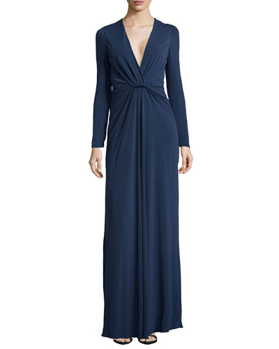Plunging Gathered-Waist Jersey Gown, Navy