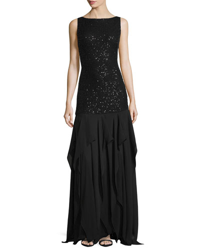 Sleeveless Sequined Lace-Bodice Gown