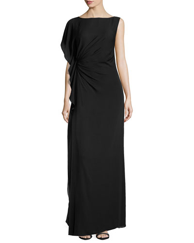 Asymmetric-Sleeve Flounce-Detail Gown, Black
