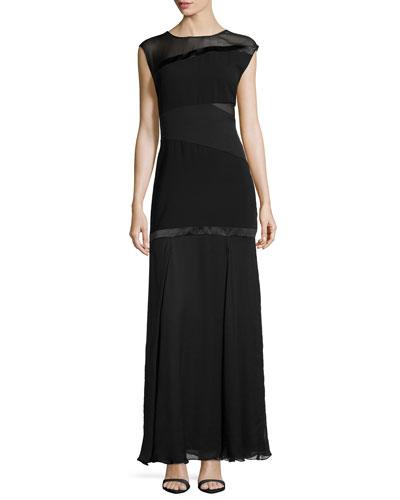 Mesh-Inset Satin-Seamed Mermaid Gown, Black