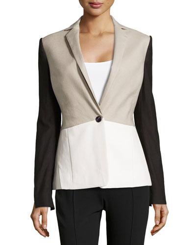 Linen-Blend/Faux-Leather Colorblock Jacket, Flint/White/Black