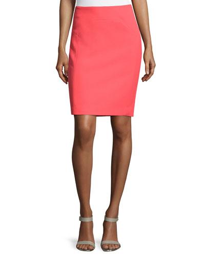 Seam-Detailed Pencil Skirt, Coral