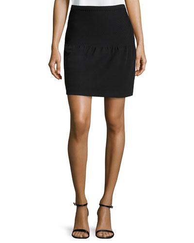 Pintuck Detail Tulip Skirt, Black