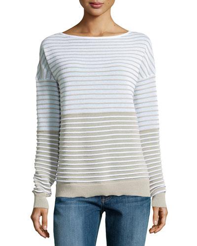 Textured-Stripe Sweater, Linen White/Flint
