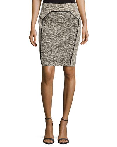 Satin-Bound Dotted Jacquard Pencil Skirt, Khaki