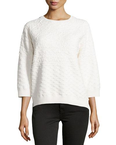 Boxy Jacquard Sweater, Chalk