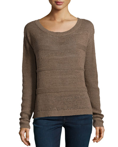 Textured-Stripe Boxy Crop Sweater, Fatigue